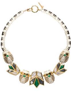 Lisa Lele Sadoughi Scarab & Lotus Necklace