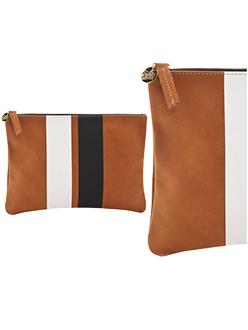 Clare Vivier Leather Minimalist Clutch Brown Stripe