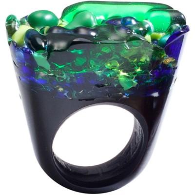Unique Green & Blue Murano Glass Ring Italy