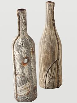 Unique Ceramic Artists Akira Satake Ceramics Woodgrain Bottle