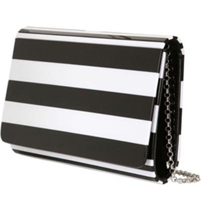 Lulu Guinness Black + White Striped Clutch Bag
