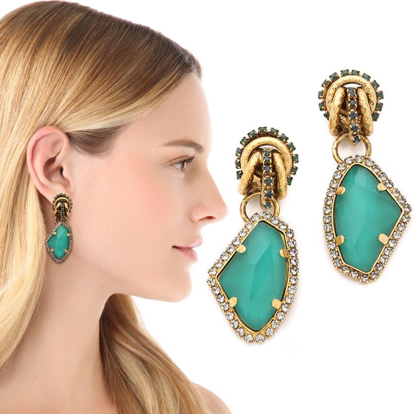 Erikson Beamon Rock Star Inspired Gold Turquoise Earrings