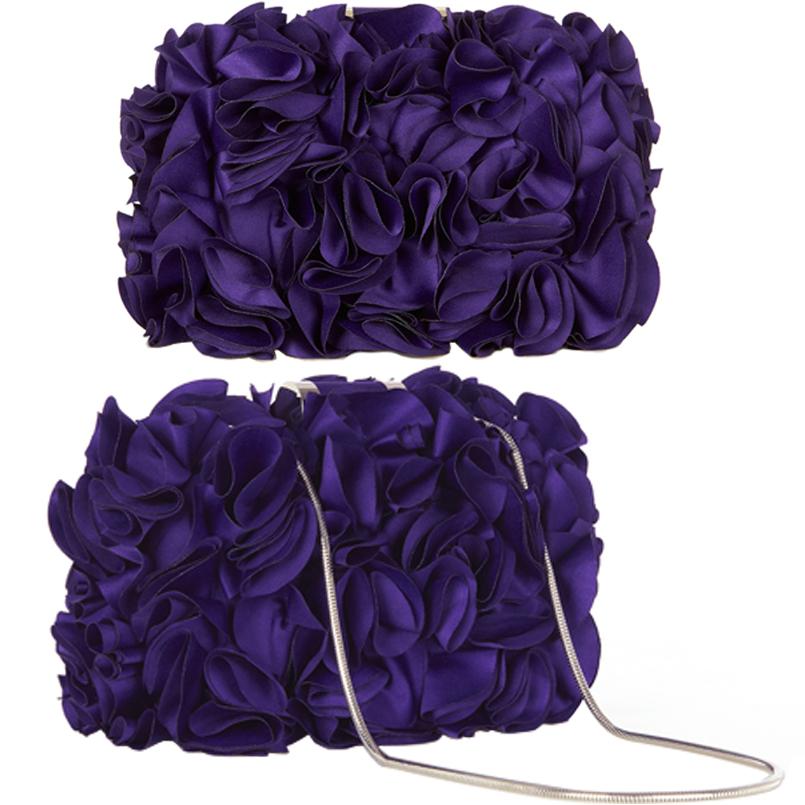 Purple Satin Evening Clutch