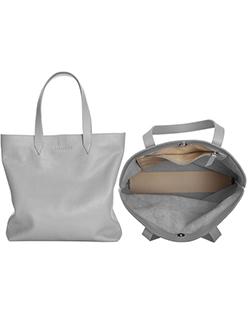 LACAMBRA Handbag Minimal Gray Leather Tote Bag