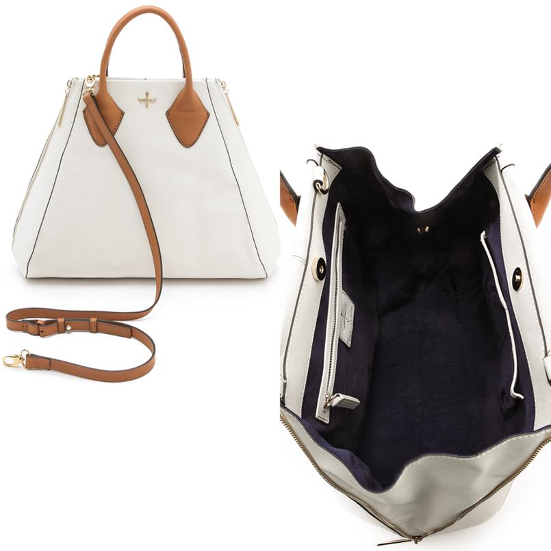 Pour La Victoire Chic White Leather Tote Bag