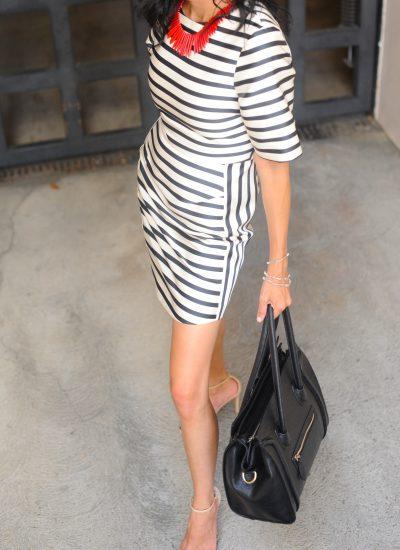 Topshop Navy Stripe Dress