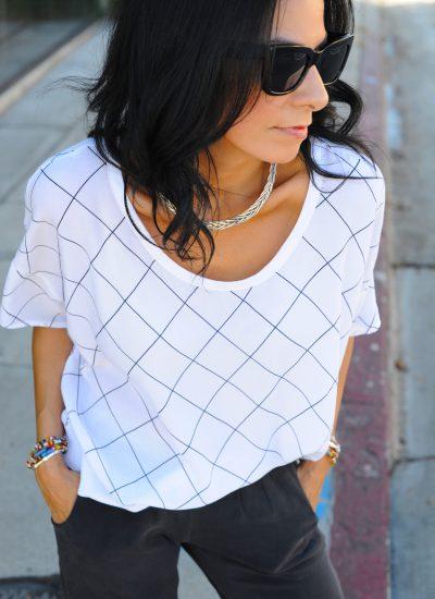 Bella Luxx - White Window Pane Shirt