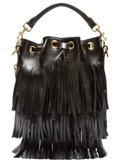 Saint Laurent - Black Leather Fringe Bag
