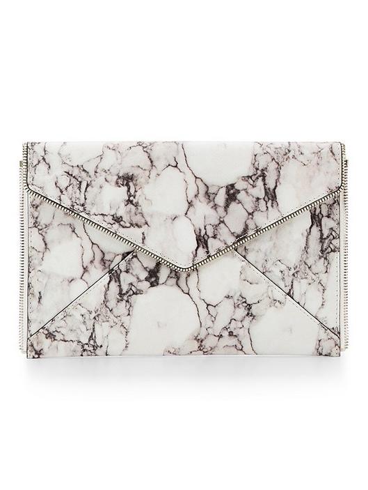 Marble White Leather Clutch Rebecca Minkoff