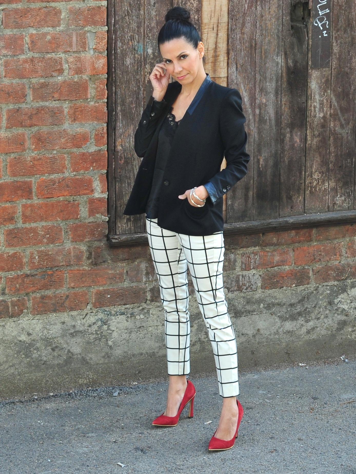 Dressing For Success - Helmut Lang Black Blazer, Mango Check Pants