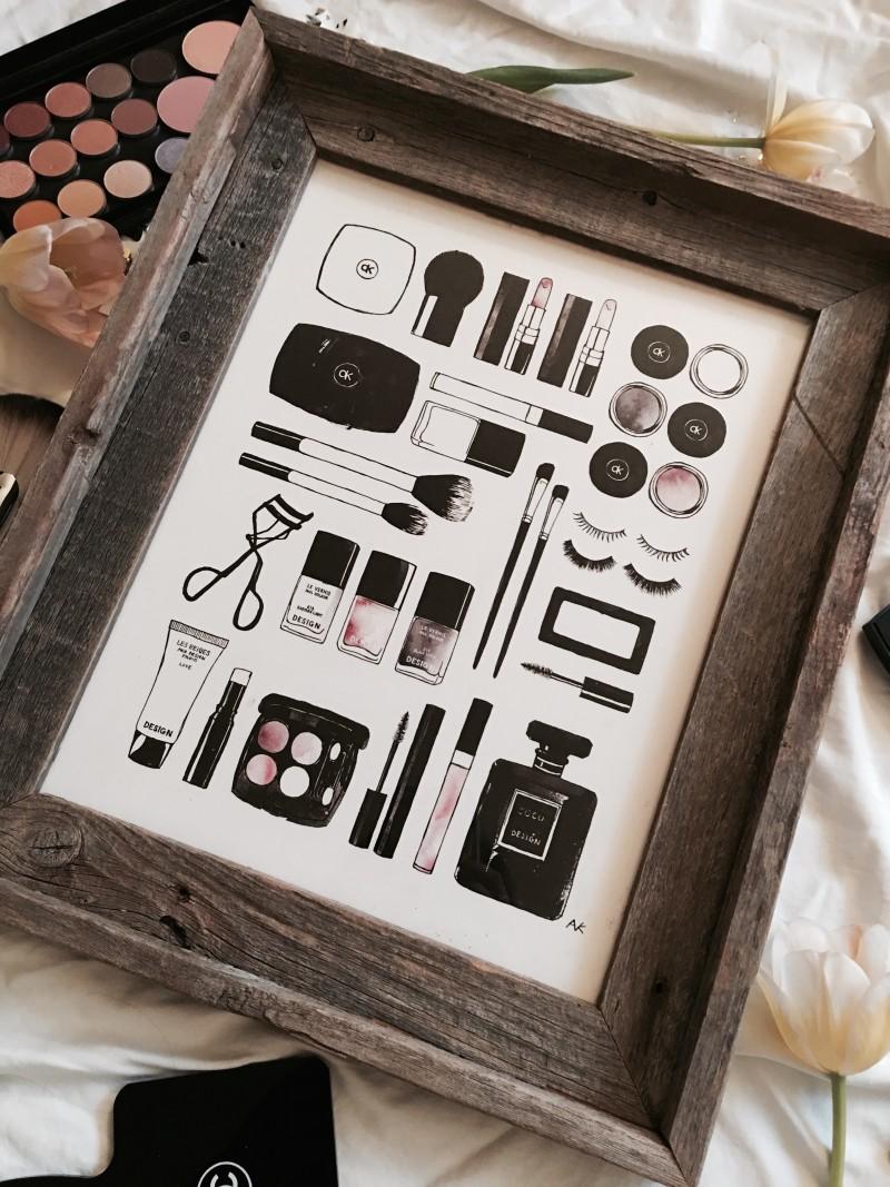 Beauty Items Art Print By Akr Design Studio